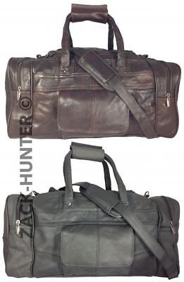 Mens Ladies Leather Holdall Travel Gym Duffle Sports Cabin Bag Cowhide Leather • 34.95£