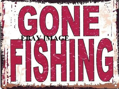 £6.95 • Buy Gone Fishing Metal Sign Retro Vintage Style Small