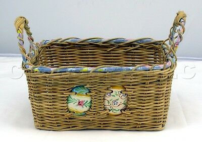 £22.79 • Buy Decorative Square Woven Grass Wicker Ceramic Easter Eggs Basket With Handles
