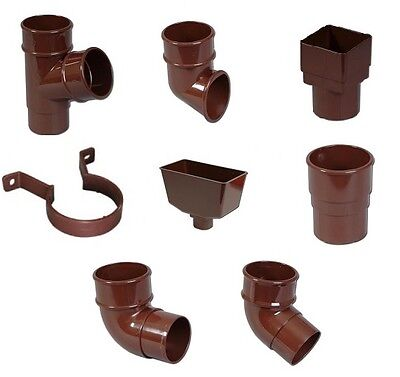 £2.79 • Buy Rainwater Down Pipe Accessories - Brown Round Pipe - Brown Downpipe Components