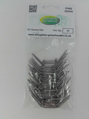 Two Packs X 50 Thick Stainless Steel  W  Wire Elite Greenhouse Glazing Clips  • 10.95£