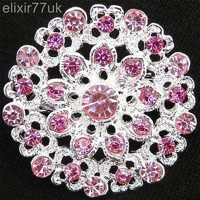 £2.37 • Buy New Silver Flower Bouquet Brooch Pink Diamante Crystal Wedding Party Pin Broach