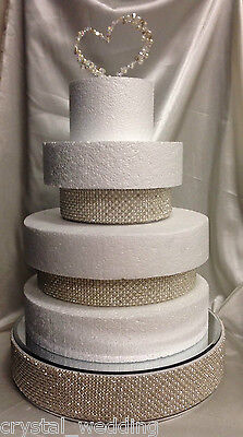 Pearl & Real Crystal Cake Separator / Riser For  Use Between Your Wedding Cakes  • 34.65£