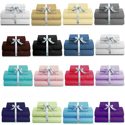 AU34.20 • Buy Single/KS/Double/Queen/King 4 Piece Bed Sheet Set,Flat,Fitted,Pillowcases