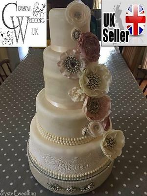 £58 • Buy Pearl & Brooch Cake Stand For Wedding  - Made To Order 8 - 20  Round & Square