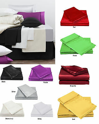 AU59.95 • Buy 300TC Luxury Satin Silk Soft Fitted Sheet Set - Single Double Queen King