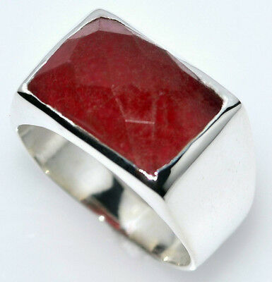 £34.99 • Buy Solid Sterling Mens 925 SILVER Signet Rings Red Jade Gemstone Ring Size L To Z+5