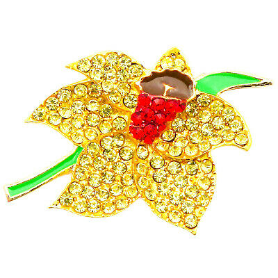 £3.79 • Buy New Gold Yellow Daffodil Diamante Crystal Flower Pin Brooch For Women Kit Flower