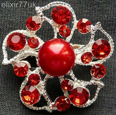 New Silver Flower Red Crystal Faux Pearl Brooch Uk Wedding Party Gift Fab Broach • 2.18£