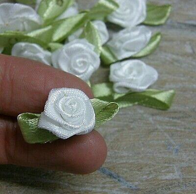 Rose Buds, Satin Ribbon Flowers Rosebuds Flowers,scrap Booking 30x17mm 50 Pack • 2.95£