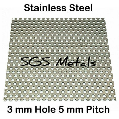 £41.09 • Buy 304 STAINLESS STEEL PERFORATED SHEET 3mm Ø Hole 8 Larger Sizes Guillotine Cut