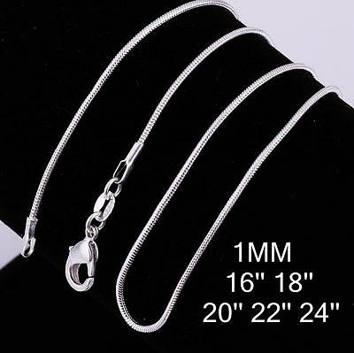AU3.95 • Buy 925 Sterling Silver 1MM Classic Snake Necklace Chain Wholesale Bulk Price