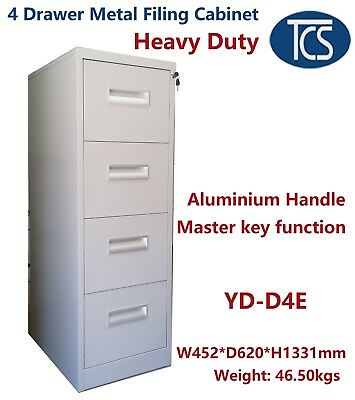 AU263 • Buy TCS NEW Assembled 4 DRAWER METAL FILING CABINET SCHOOL GYM OFFICE STORAGE