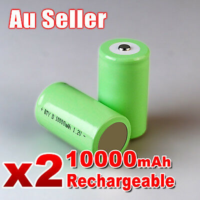 AU16.95 • Buy 2x 10000mah D Size NI-MH Rechargeable Cell Battery 10000-mah NIMH Batteries 1.2V