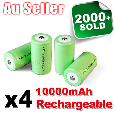 AU25.95 • Buy 4x 10000mah D Size NI-MH Rechargeable Cell Battery 10000-mah NIMH Batteries 1.2V