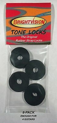 $ CDN12.62 • Buy Eight BLACK Rubber Guitar Strap Locks - Grolsch Style - Classic And Reliable