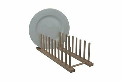New Beech Wood Wooden Long 10 Plates Plate Rack Stand Holder Drainer Kitchen • 6.99£