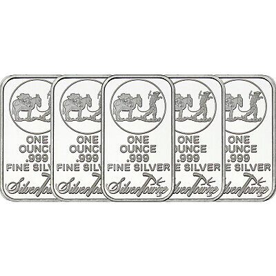 $ CDN197.54 • Buy SilverTowne Logo 1oz .999 Fine Silver Bar 5 Piece Lot
