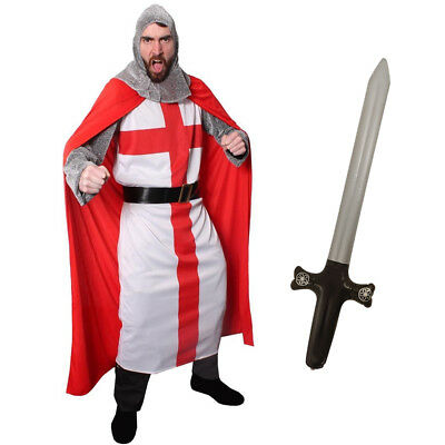 £29.99 • Buy Mens Knight Costume Adult St George Fancy Dress Medieval English Crusader Man