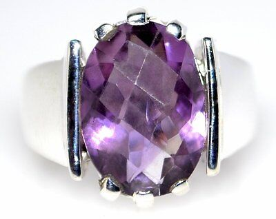 £31.49 • Buy Amethyst Ring Solitaire Gem 925 Sterling Silver Mens Rings Sizes 5½, L To 10½, V