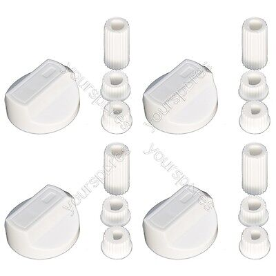 4 X Tricity Bendix Universal Cooker/Oven/Grill Control Knob And Adaptors White • 4.65£