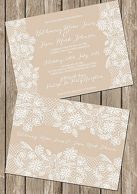 Personalised Vintage Lace Double Sided Wedding Invitations Packs Of 10 • 5.25£