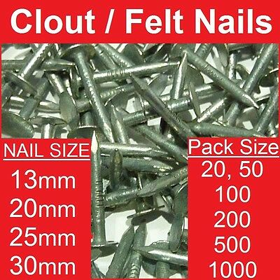 Felt / Clout Nails ~ All Sizes   All Pack Sizes   Galvanised   13, 20, 25 & 30mm • 3.13£