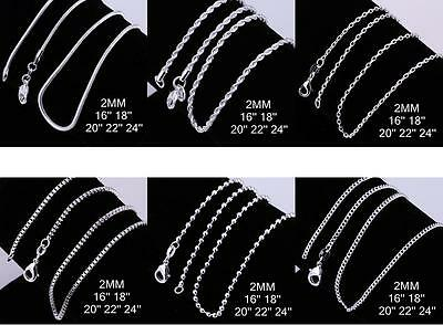 AU4.95 • Buy Various Stunning 925 Sterling Silver 2MM Necklace Chains Unisex 16 - 24''
