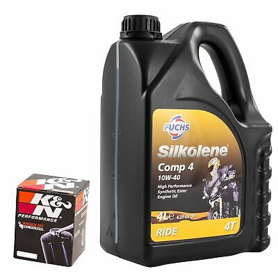 Silkolene Comp 4 10W40 Oil & K&N Oil Filter Kit For Yamaha 2007 FZ1 (Naked) KN-2 • 48.79£