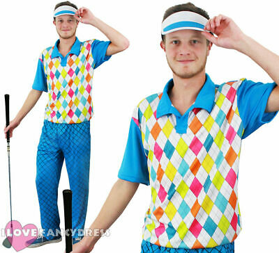 Mens Golfer Fancy Dress Golfing Costume Pub Golf Sports Uniform Stag Party • 19.99£