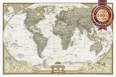 AU19.95 • Buy Large Detailed Political Map Of The World Home Wall Art Print Premium Poster