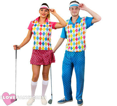Couples Golfer Costumes Golfing Fancy Dress Pub Golf Party Adult Sport Uniform • 29.99£