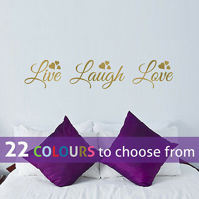 LIVE Laugh Love Quote Wall Sticker Art Decal Lounge Bedroom Beauty Salon Decor • 4.55£