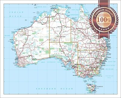 AU17.95 • Buy Large Detailed Map Of Aus Australian Roads Atlas Wall Print Premium Poster
