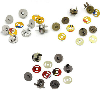 5 Magnetic Snap Clasps For Purses / Bags  14mm Or 18mm  Choose Colour  UK Seller • 1.79£
