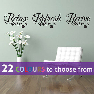 RELAX Refresh REVIVE Quote Wall Sticker Art Decal Spa Bathroom Nail Beauty Salon • 7.75£