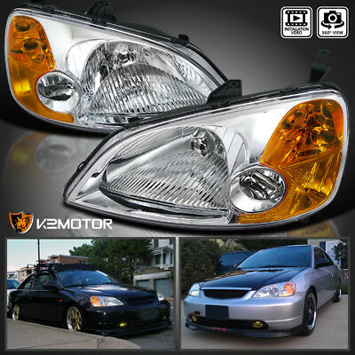$71.38 • Buy For 2001-2003 Honda Civic Clear Headlights Corner Lamps Pair Left+Right 01 02 03