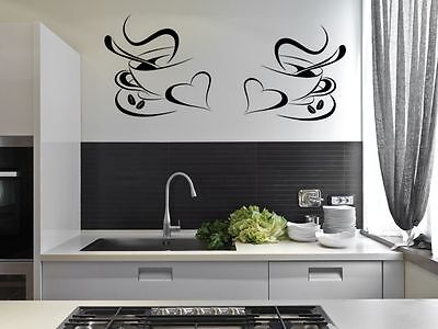 2 Coffee Cups Kitchen Wall Stickers Cafe Vinyl Art Decals • 3.95£