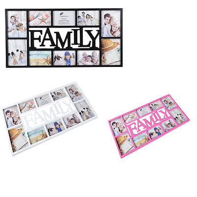 £19.99 • Buy Large Family 10 Multi Picture Aperture Photo Wall Frame Black,Brown,Pink,/White