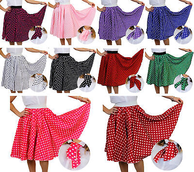 Adults Long Polka Dot Skirt & Scarf Rock And Roll 1950's Fancy Dress Costume • 13.99£