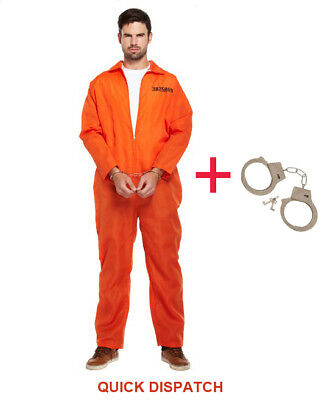 Mens Prisoner Overall Orange Jumpsuit Convict Stag Do Party Fancy Dress Costume • 10.45£
