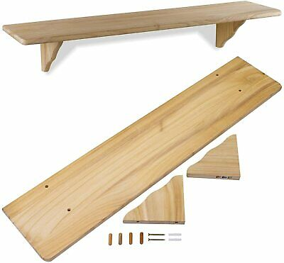 £9.50 • Buy Large Natural Wood Wooden Shelf Storage Unit Stand & Fittings Wall Mounted 3 FT