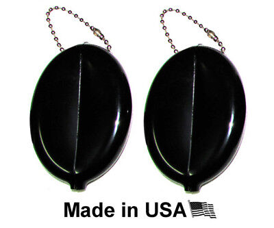 $7.99 • Buy 2 Black Oval Squeeze Coin Holders   Key Chain - Money Change Purse   Made In USA