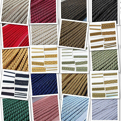 6mm  And 8mm Plain Cord & Flanged Piping Costume Cushion Upholstery BUY 1 2 4m+ • 3.50£