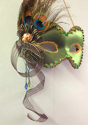 £17.95 • Buy Emerald Green Peacock Feather  Hanging Masquerade Wall Mask Costume Ball LP14084