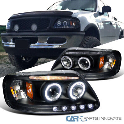$123.95 • Buy For 97-03 Ford F150 Matte Black LED Strip Halo Projector Headlights Left+Right