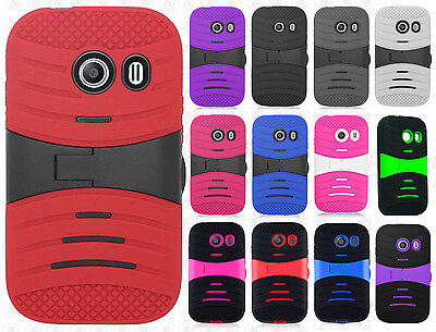 £6.48 • Buy For Straight Talk Samsung Galaxy ACE Hard Gel Rubber KICKSTAND Case Phone Cover