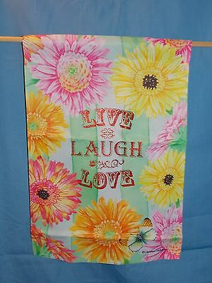 New Live Love Laugh Daisy Colorful Flowers Butterfly Garden Yard Flag 12.5 X 18 • 6.73£