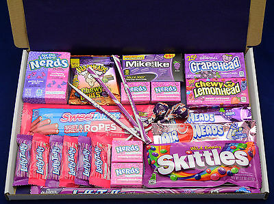 £12.99 • Buy American Candy Gift Box - Birthday Present - Hamper - Airheads - Sweets - Nerds