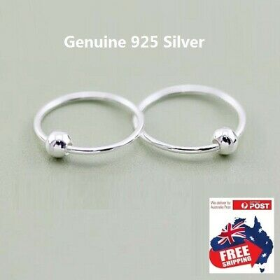 AU5.99 • Buy Genuine 925 Silver Filled Hoop Nose Lip Ring With 3 MM Beads! 5 Size! 1 Pair!